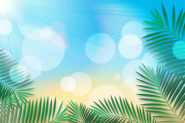 Beach Bokeh Background with Sunlight. Palm Leaves Frame. Can use Sale sign, flyer, poster, shopping, card, website, party, promotion.