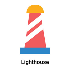 Lighthouse icon vector sign and symbol isolated on white background