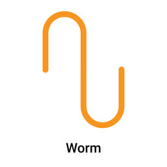 Worm icon vector sign and symbol isolated on white background