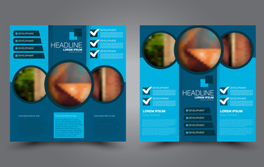 Square flyer template. Brochure or anual report cover design. For business and education. Vector illustration. Blue color.