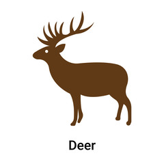 Deer icon vector sign and symbol isolated on white background