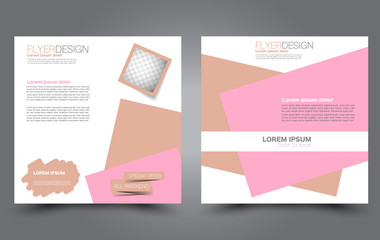 Square flyer template. Simple brochure design. For business and education. Vector illustration. Pink and brown color.