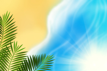 Beach Bokeh Background with Sunlight and Palm Leaves. Can use Sale sign, flyer, poster, shopping, card, website, party, promotion, menu.