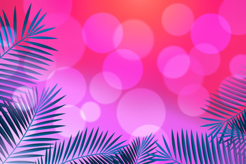 Background Palm Leaves Frame. Fashion Pink Gradient. Can use Sale sign, flyer, poster, shopping, card, website, party, promotion.
