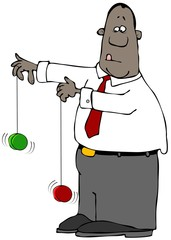 Illustration of a black businessman playing with two yo-yos at the same time.