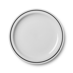 Simple circular porcelain plate isolated on white with clipping path