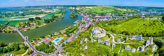 Chateau Gaillard with the Seine river in Les Andelys commune - Normandy, France