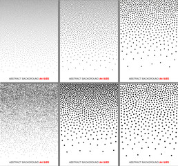Wall Mural - Set of Abstract Gradient Halftone Dots Backgrounds. A4 paper size. Vector illustration.