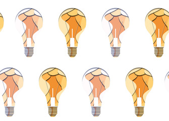 Seamless pattern of 3d bulbs cut from paper on white background. Vector texture for your creativity