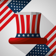 top hat flags american independence day vector illustration