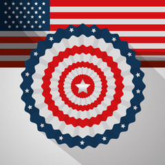 retro label flag decoration american independence day vector illustration