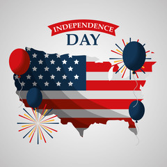 usa map fireworks balloons celebrating american independence day vector illustration