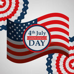american flag 4 july independence day vector illustration