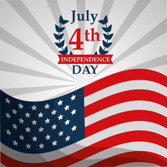 waving flag national american independence day vector illustration