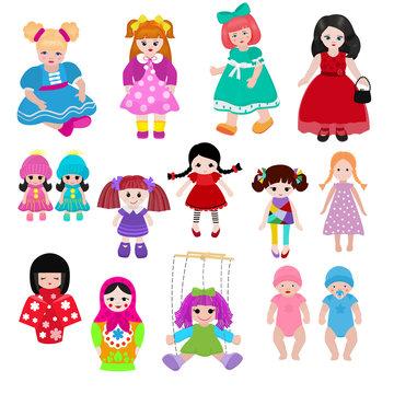 Vector doll toy cute girl female set illustration childhood baby dress face child beautiful dollhouse children baby toyhouse cartoon isolated on white background