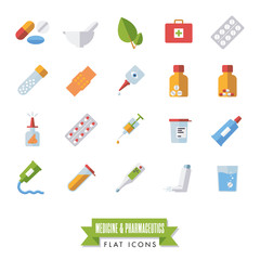 Pharmaceutics and medicine flat design isolated icons vector set.