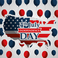 usa map and flying balloons american independence day vector illustration
