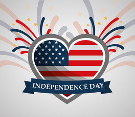 flag in heart banner american independence day vector illustration