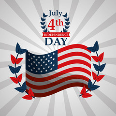 waving flag emblem american independence day vector illustration