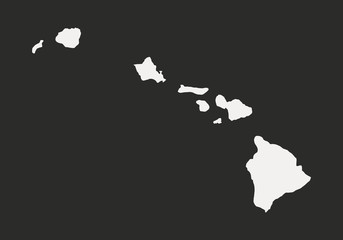 Wall Mural - Hawaii map isolated on a black background. Hawaii USA. Vector illustration