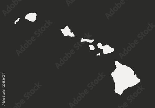 Hawaii Map Isolated On A Black Background Hawaii Usa Vector
