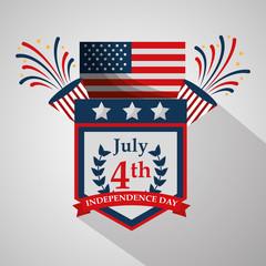 pennant flag fireworks decoration american independence day vector illustration