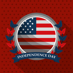 flag emblem american independence day card on stars background vector illustration
