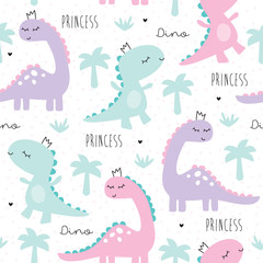 seamless princess dinosaur animal pattern vector illustration