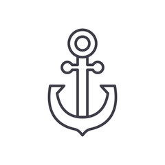 Anchoring black icon concept. Anchoring flat  vector symbol, sign, illustration.