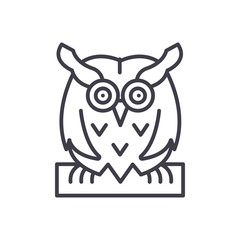 Bird owl black icon concept. Bird owl flat  vector symbol, sign, illustration.