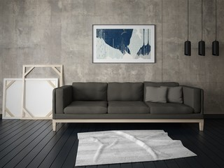 Mock up the living room in a modern style with a trendy sofa and a stylish hipster background.