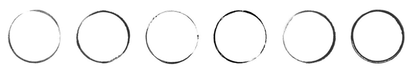 6 unterschiedliche schwarze handgemalte Kreise