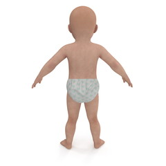 Beauty Baby on white. Rear view. 3D illustration