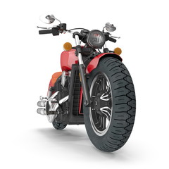 Classic Motorbike isolated on white. Front view. 3D illustration