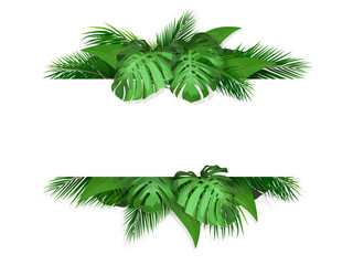 Trendy tropical and summer leaves. Frame with place for text. Vector Illustration for design with exotic plant.