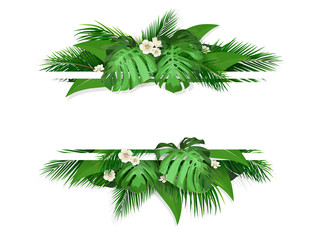 Exotic tropical leaves. Banner with space for text. Frame with exotic plants monstera, banana palm tree and flowers.