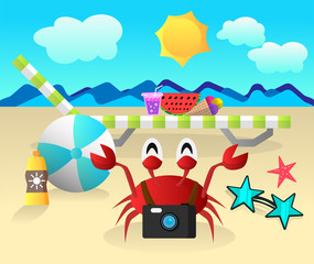 Summer vector illustration with crab.
