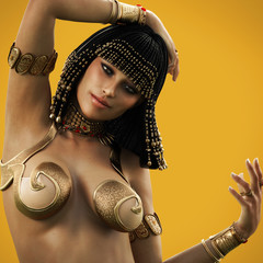 Elegant Egyptian female posing with a color background. 3d rendering