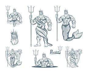 Magic neptune set. Poseidon. World of fantasy. Hand drawn poseidon. Neptune head. Vector artwork.