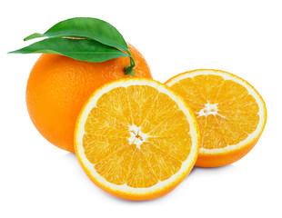Orange fruit isolate. Fresh orange with leaves isolated on white.