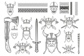Set of various elements on the theme of the Vikings. Hand drawn of a viking in a helmet. Sketch of viking head with traditional weapons. Traditional ornament for your use. Vector artwork.
