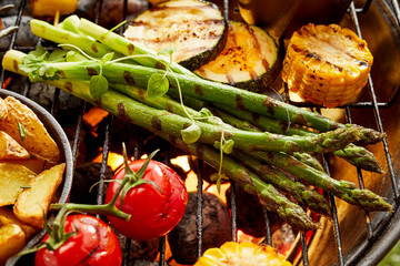 Healthy fresh vegetables grilling on a BBQ