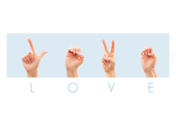 Love in American sign language.