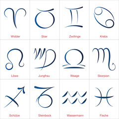 Twelve signs of the zodiac, german names. Astrology signs, calligraphic illustrations of the twelve zodiac signs.