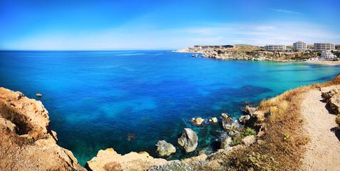 Colorful panorama at Ghajn Tuffieha, Malta