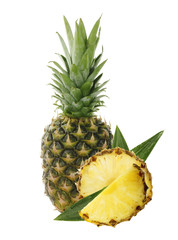 pineapple with slice isolated on white