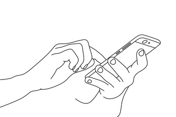 Hand drawing of two hands using a smartphone mobile device
