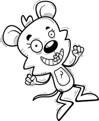 Cartoon Female Mouse Jumping