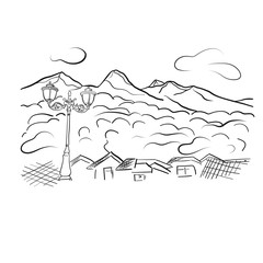 Mountain view linart vector illustration