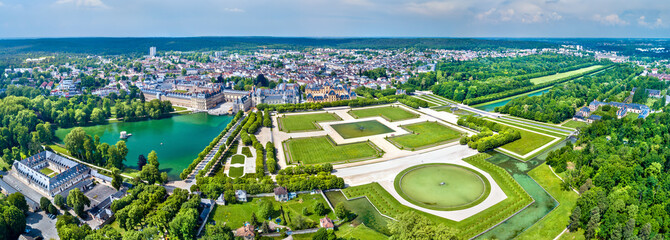 Aerial view of Chateau de Fontainebleau with its gardens, a UNESCO World Heritage Site in France